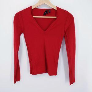 Theory Red Low-Neck Merino Wool Sweater Size P XS